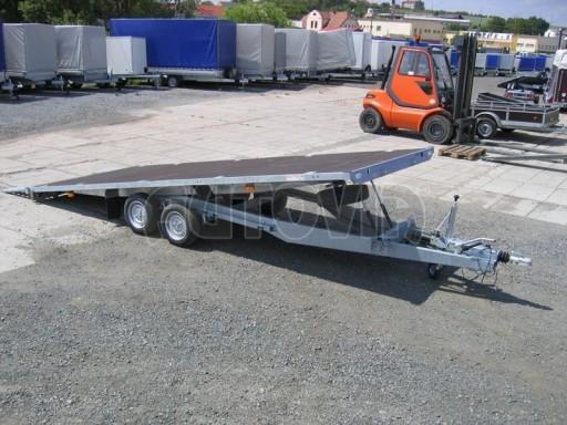 Dvouosý brzděný přívěs s hydraulicky sklopnou plochou AD speciál plato 2,7t 4,15/1,88** č.136