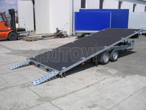 Dvouosý brzděný přívěs s hydraulicky sklopnou plochou AD speciál plato 2,7t 4,15/1,88** č.137