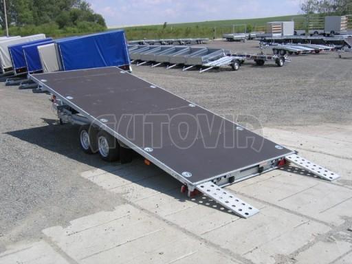 Dvouosý brzděný přívěs s hydraulicky sklopnou plochou AD speciál plato 2,7t 4,15/1,88** č.138