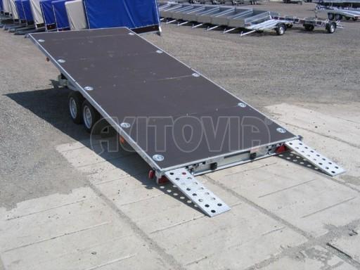 Dvouosý brzděný přívěs s hydraulicky sklopnou plochou AD speciál plato 2,7t 4,15/1,88** č.139