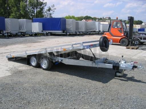 Dvouosý brzděný přívěs s hydraulicky sklopnou plochou AD speciál plato 2,7t 4,15/1,88** č.140