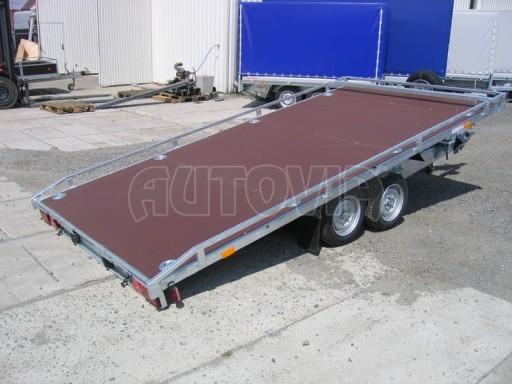 Dvouosý brzděný přívěs s hydraulicky sklopnou plochou AD speciál plato 2,7t 4,15/1,88** č.141