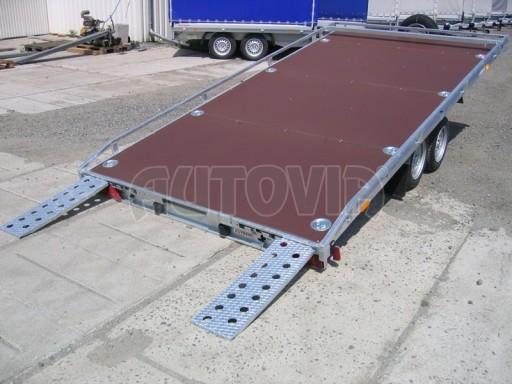 Dvouosý brzděný přívěs s hydraulicky sklopnou plochou AD speciál plato 2,7t 4,15/1,88** č.142