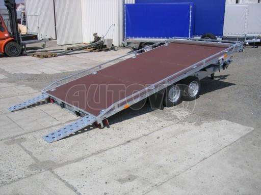 Dvouosý brzděný přívěs s hydraulicky sklopnou plochou AD speciál plato 2,7t 4,15/1,88** č.143