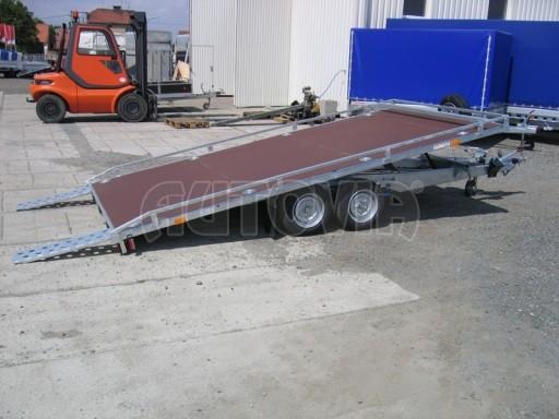 Dvouosý brzděný přívěs s hydraulicky sklopnou plochou AD speciál plato 2,7t 4,15/1,88** č.144