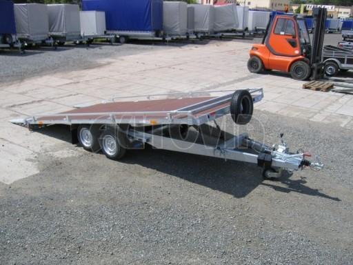 Dvouosý brzděný přívěs s hydraulicky sklopnou plochou AD speciál plato 2,7t 4,15/1,88** č.145