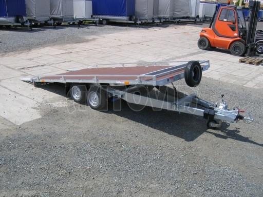 Dvouosý brzděný přívěs s hydraulicky sklopnou plochou AD speciál plato 2,7t 4,15/1,88** č.146