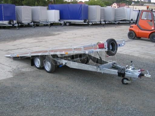 Dvouosý brzděný přívěs s hydraulicky sklopnou plochou AD speciál plato 2,7t 4,15/1,88** č.147