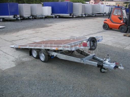 Dvouosý brzděný přívěs s hydraulicky sklopnou plochou AD speciál plato 2,7t 4,15/1,88** č.148
