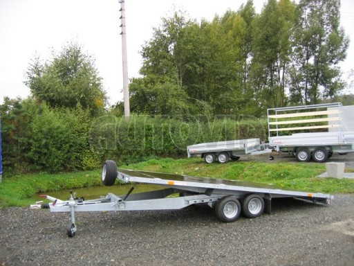 Dvouosý brzděný přívěs s hydraulicky sklopnou plochou AD speciál plato 2,7t 4,15/1,88** č.169
