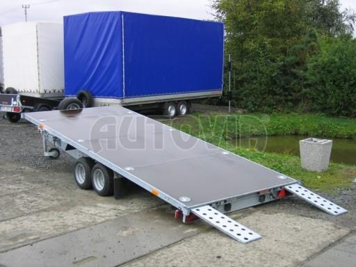 Dvouosý brzděný přívěs s hydraulicky sklopnou plochou AD speciál plato 2,7t 4,15/1,88** č.170