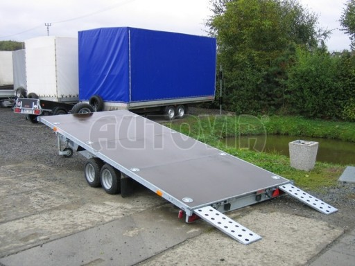 Dvouosý brzděný přívěs s hydraulicky sklopnou plochou AD speciál plato 2,7t 4,15/1,88** č.171