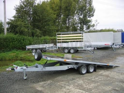 Dvouosý brzděný přívěs s hydraulicky sklopnou plochou AD speciál plato 2,7t 4,15/1,88** č.172