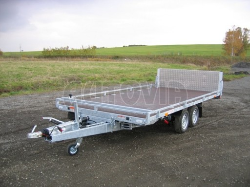 Dvouosý brzděný přívěs s hydraulicky sklopnou plochou AD speciál plato 2,7t 4,15/1,88** č.173