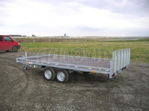 Dvouosý brzděný přívěs s hydraulicky sklopnou plochou AD speciál plato 2,7t 4,15/1,88** č.177