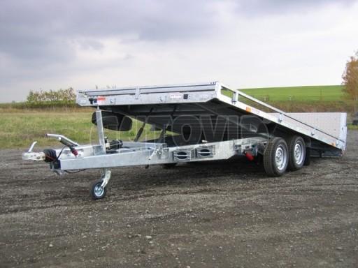 Dvouosý brzděný přívěs s hydraulicky sklopnou plochou AD speciál plato 2,7t 4,15/1,88** č.179