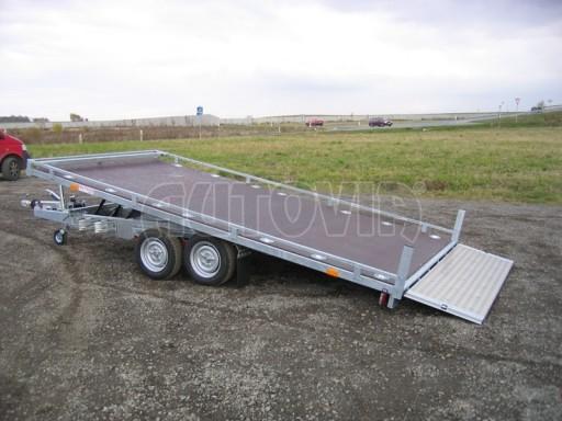 Dvouosý brzděný přívěs s hydraulicky sklopnou plochou AD speciál plato 2,7t 4,15/1,88** č.180
