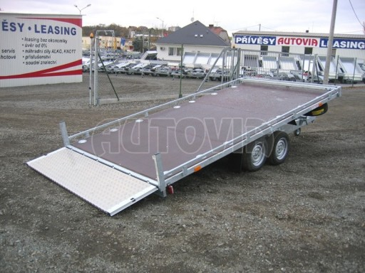 Dvouosý brzděný přívěs s hydraulicky sklopnou plochou AD speciál plato 2,7t 4,15/1,88** č.181