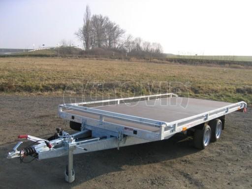 Dvouosý brzděný přívěs s hydraulicky sklopnou plochou AD speciál plato 2,7t 4,15/1,88** č.182