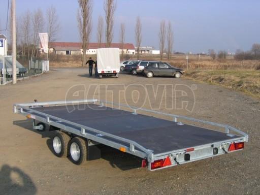 Dvouosý brzděný přívěs s hydraulicky sklopnou plochou AD speciál plato 2,7t 4,15/1,88** č.183