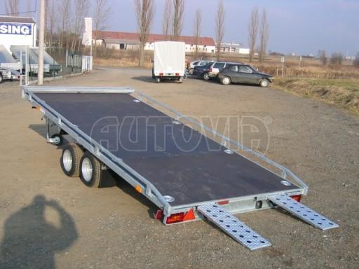 Dvouosý brzděný přívěs s hydraulicky sklopnou plochou AD speciál plato 2,7t 4,15/1,88** č.184