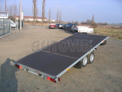 Dvouosý brzděný přívěs s hydraulicky sklopnou plochou AD speciál plato 2,7t 4,15/1,88** č.185
