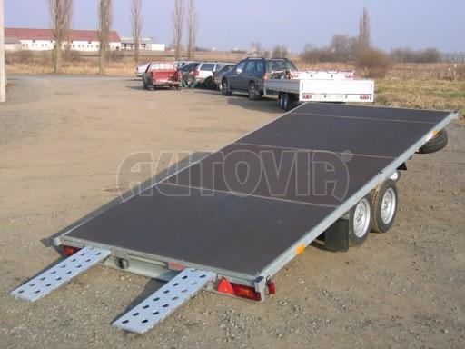 Dvouosý brzděný přívěs s hydraulicky sklopnou plochou AD speciál plato 2,7t 4,15/1,88** č.187