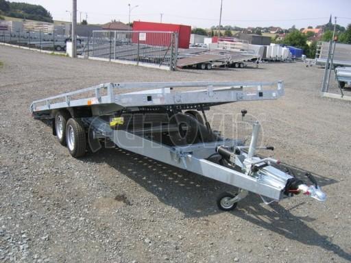 Dvouosý brzděný přívěs s hydraulicky sklopnou plochou AD speciál plato 2,7t 4,15/1,88** č.188