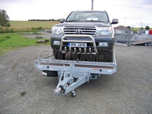 Dvouosý brzděný přívěs s hydraulicky sklopnou plochou AD speciál plato 2,7t 4,15/1,88** č.190