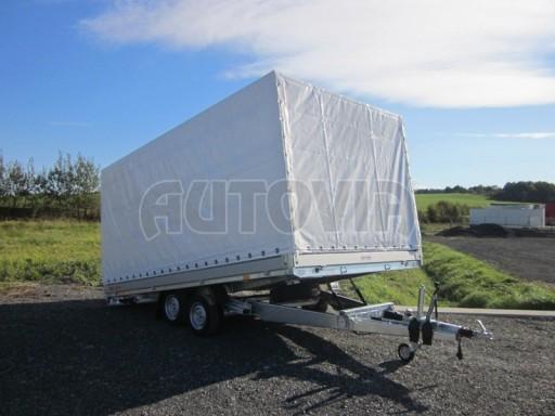 Dvouosý brzděný přívěs s hydraulicky sklopnou plochou AD speciál valník 2,7t  4,15/1,88/0,35** č.110