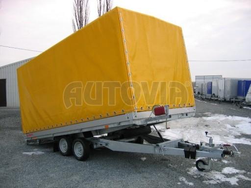 Dvouosý brzděný přívěs s hydraulicky sklopnou plochou AD speciál valník 2,7t  4,15/1,88/0,35** č.118