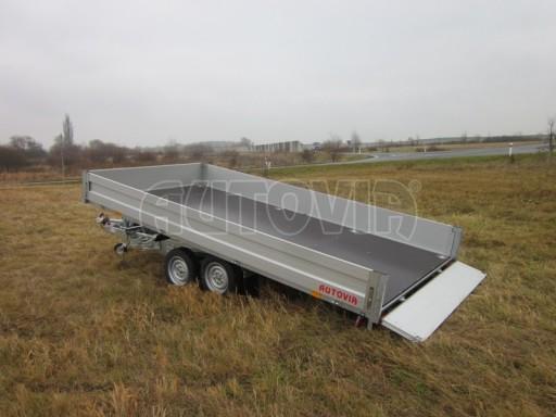 Dvouosý brzděný přívěs s hydraulicky sklopnou plochou AD speciál valník 2,7t  4,15/1,88/0,35** č.141