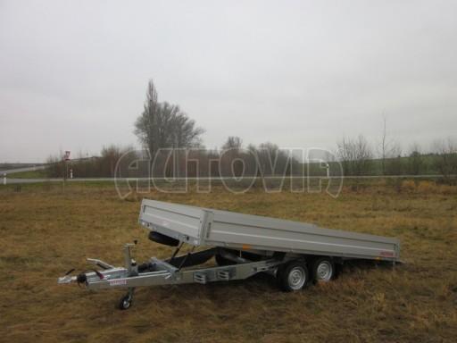 Dvouosý brzděný přívěs s hydraulicky sklopnou plochou AD speciál valník 2,7t  4,15/1,88/0,35** č.142