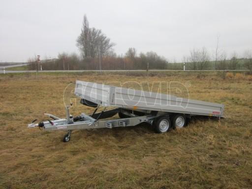 Dvouosý brzděný přívěs s hydraulicky sklopnou plochou AD speciál valník 2,7t  4,15/1,88/0,35** č.143