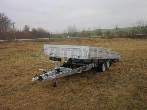 Dvouosý brzděný přívěs s hydraulicky sklopnou plochou AD speciál valník 2,7t  4,15/1,88/0,35** č.144