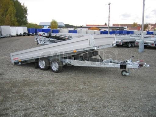 Dvouosý brzděný přívěs s hydraulicky sklopnou plochou AD speciál valník 2,7t  4,15/1,88/0,35** č.150