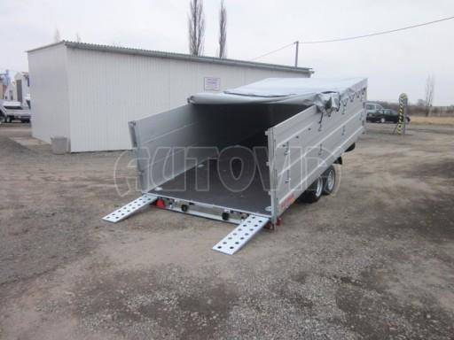 Dvouosý brzděný přívěs s hydraulicky sklopnou plochou AD speciál valník 2,7t  4,15/1,88/0,35** č.168