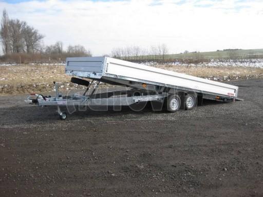 Dvouosý brzděný přívěs s hydraulicky sklopnou plochou AD speciál valník 2,7t  4,15/1,88/0,35** č.242