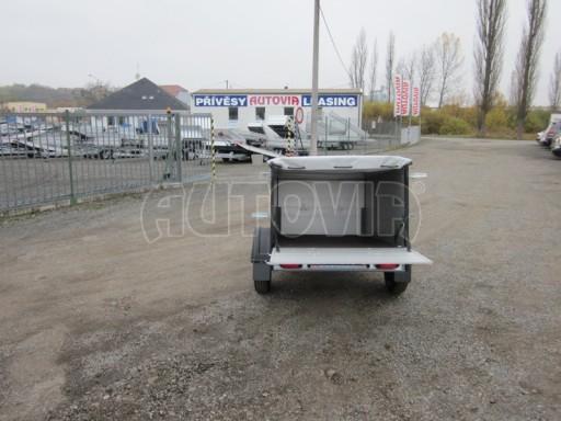 Nebrzděný přívěsný vozík s masivní V ojí ZV 3 ALU 2,06x1,10/0,70 nástavba plachta** č.8