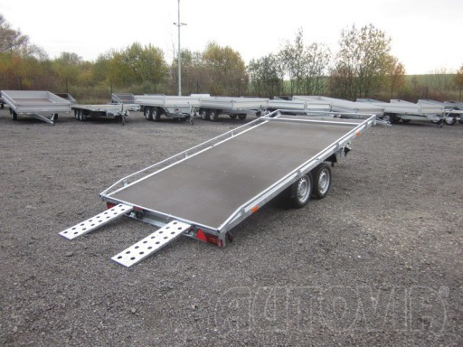 Dvouosý brzděný přívěs s hydraulicky sklopnou plochou AD speciál plato 2,7t 4,15/1,88** č.1