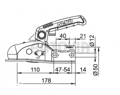 Přívěsný kloub pr. 50mm - AK 270 AL-KO+soft dock, 2700kg č.2