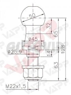 Koule ISO 50 pr. 50 mm, 3500 kg, M22x1,5 č.2
