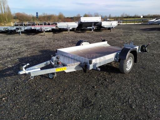 Jednoosý nebrzděný hydraulicky sklopný přívěs HS 750kg N1 2,46x1,26/0,10 ruč* č.1