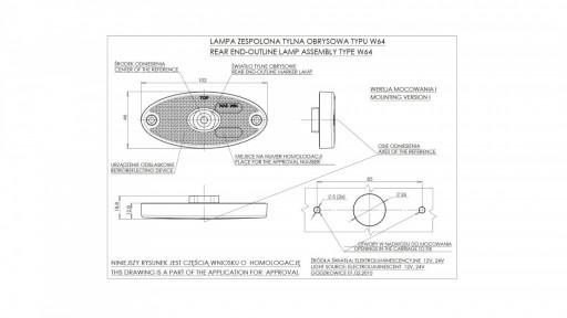 Svítilna bílá přední obrysová LED WAS W64 12-24V elipsa č.3