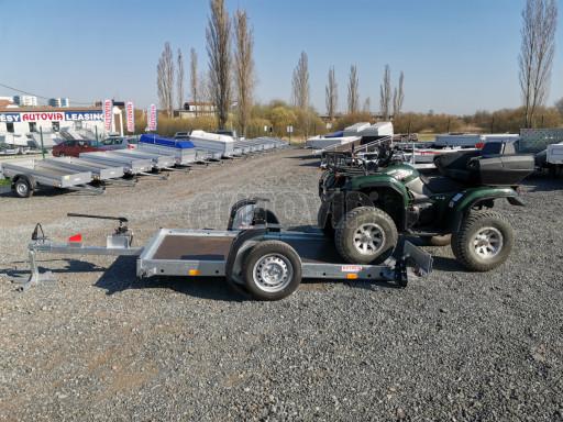 Jednoosý nebrzděný hydraulicky sklopný přívěs HS 750kg N1 2,55x1,26/0,10 ruč ECO č.1
